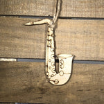 Saxophone Christmas Wooden Ornaments
