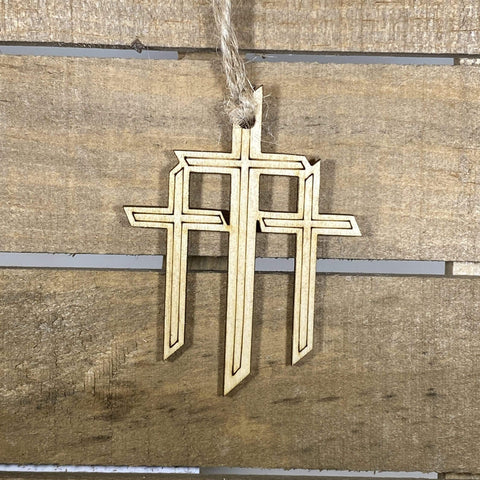 Triple Cross Wooden Christmas Ornaments - cates-concepts.
