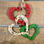 Triple Heart Christmas Wooden Ornaments