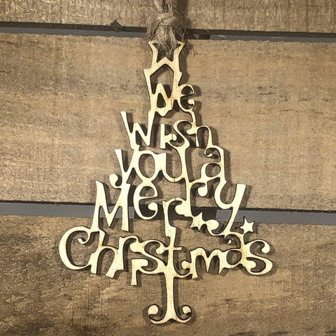 Wish You A Merry Christmas Tree Wooden Ornaments - cates-concepts.
