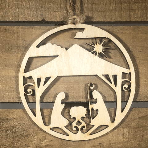 Wooden Nativity Scene Ornament