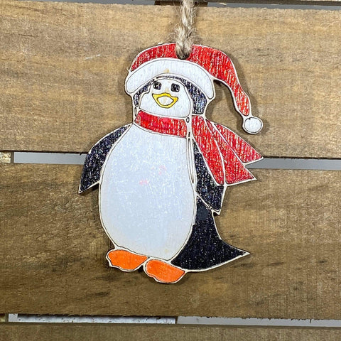 Penguin Wooden Christmas Ornaments - cates-concepts.