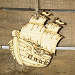 Pirate Ship Christmas Wooden Ornaments - cates-concepts.