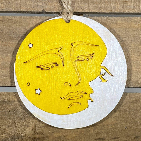 Sun Moon Embrace Wooden Christmas Ornament - cates-concepts.
