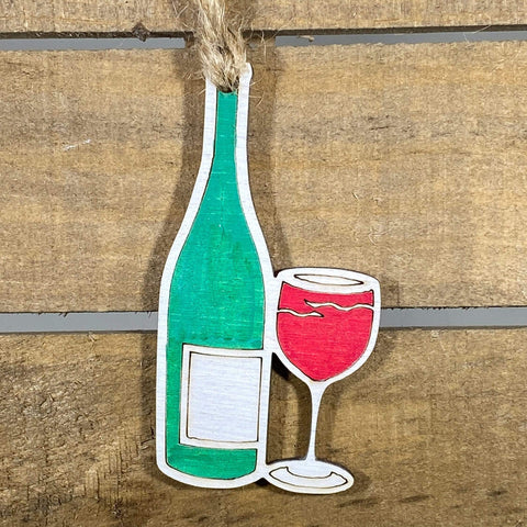 Wine Bottle and Glass Wooden Christmas Ornaments