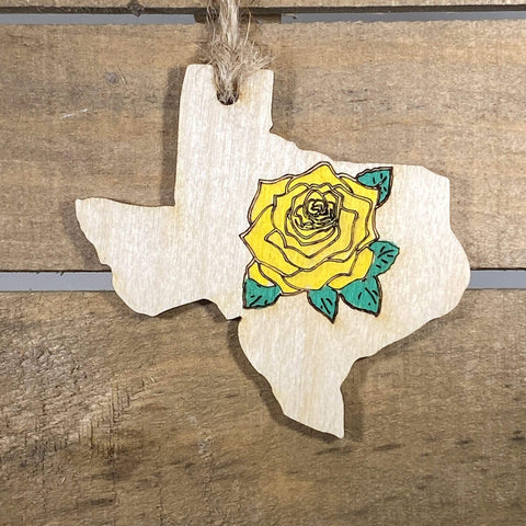 Yellow Rose of Texas Wooden Ornaments - cates-concepts.