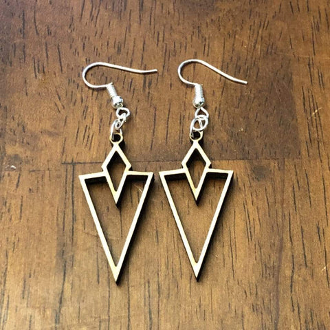 Art Deco Arrow Vee Dangle Earrings