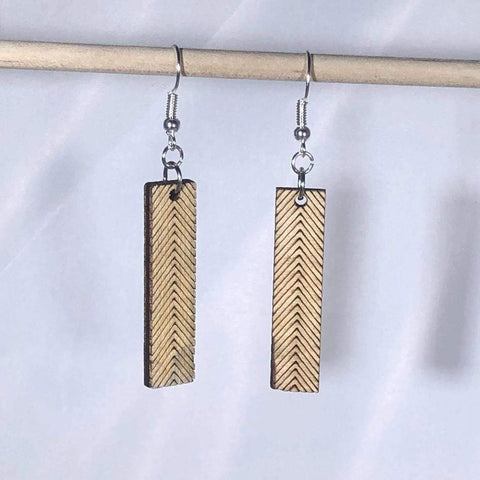 Art Deco Chevron Bar Wooden Dangle Earrings