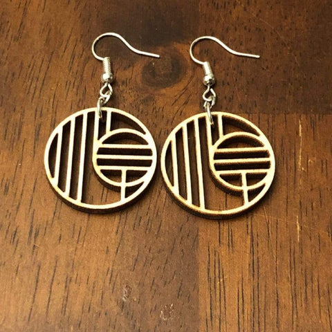 Art Deco Geometric Circle Wooden Dangle Earrings