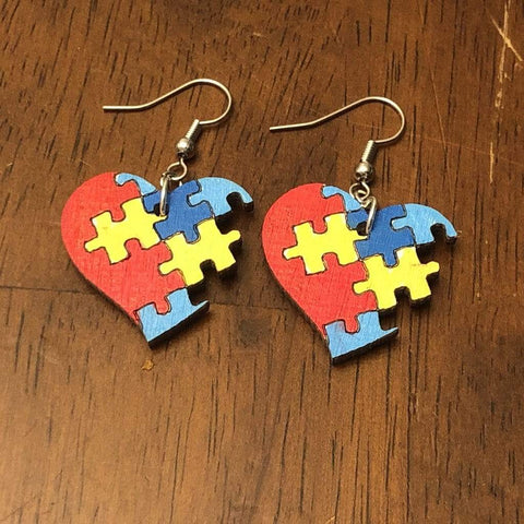 Autism Heart Puzzle Wooden Dangle Earrings