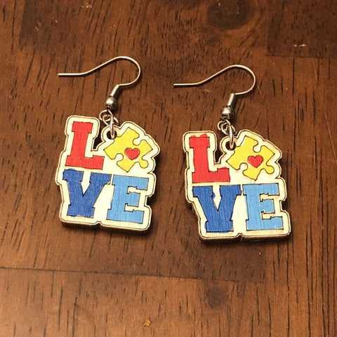 Autism LOVE Wooden Dangle Earrings - cates-concepts.