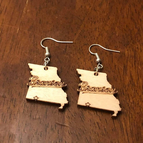 Branson Missouri Wooden Dangle Earrings - cates-concepts.