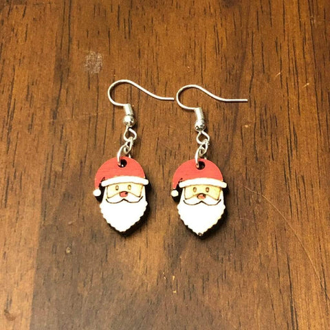 Christmas Santa Wooden Dangle Earrings