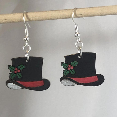 Christmas Snowman Top Hat Wooden Dangle Earrings - cates-concepts.