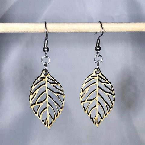 Cutout Leaf Wooden Dangle Earrings that look real and from the woodlands