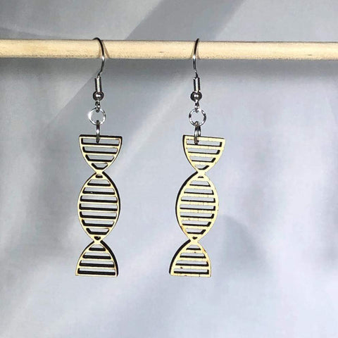 DNA Double Helix Dangle Earrings white background