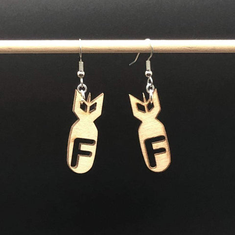 F Bomb Wooden Dangle Earrings