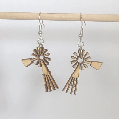 Farmland Prairie Windmills Wooden Dangle Earrings