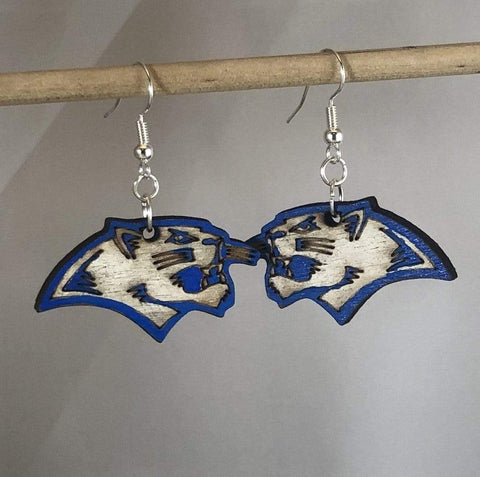 Flower Mound Jaguars Logo Wooden Dangle Earrings