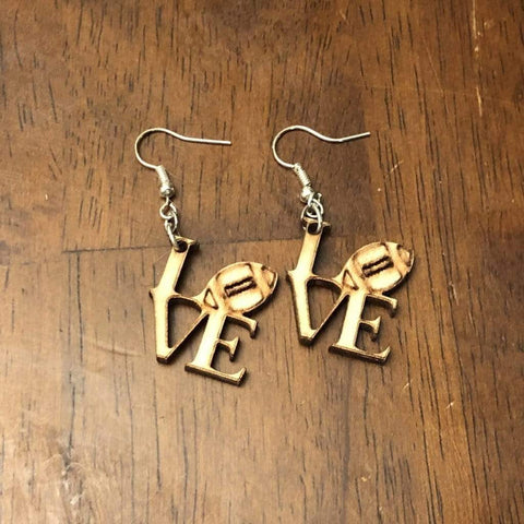 Football LOVE Wooden Dangle Earrings - cates-concepts.