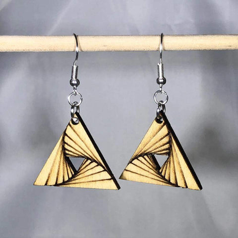 Geometric 3d Triangle Twist Wooden Dangle Earrings - cates-concepts.