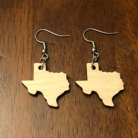 Green, Wood Grain Texas State Wooden Dangle Earrings