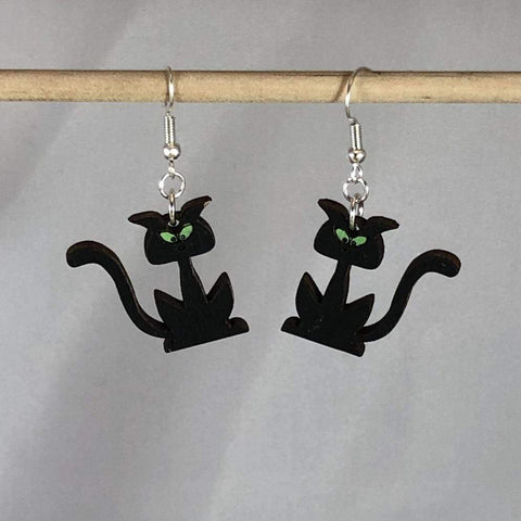 Halloween Black Cats Silhouette Wooden Dangle Earrings