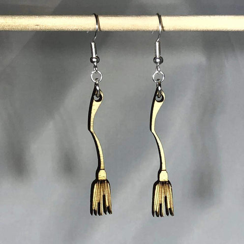 Halloween Witches Broom Wooden Dangle Earrings