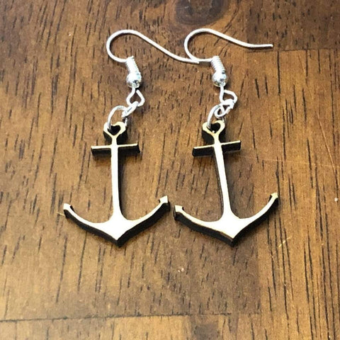 Heart Anchor Wooden Dangle Earrings - cates-concepts.