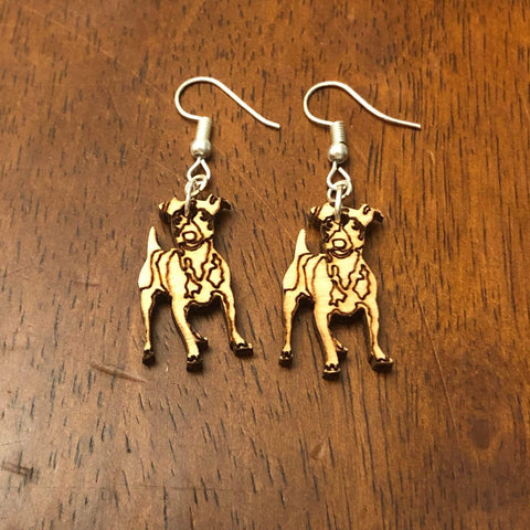 Jack Russell Terrier Wooden Dangle Earrings
