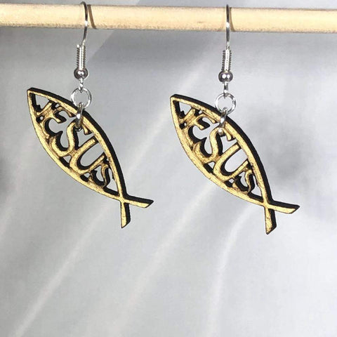 Jesus Fish (Ichthys or Ichthus) Wooden Dangle Earrings - cates-concepts.