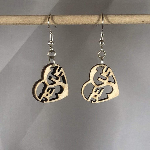 Jesus Heart Wooden Dangle Earrings