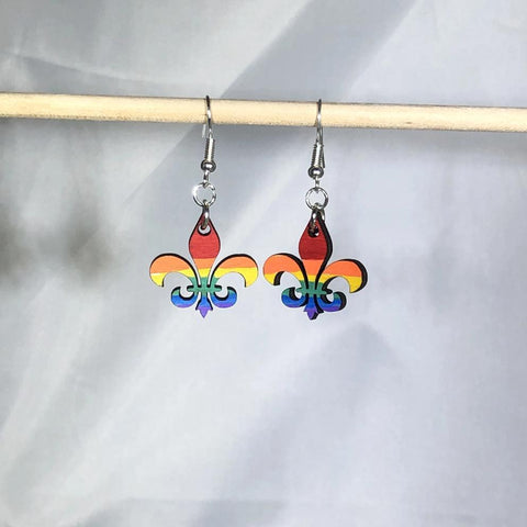 LGBTQ Louisiana Fleur-de-Lis Pride Dangle Earrings