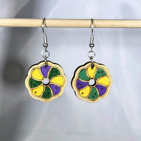 Louisiana Mardi Gras King Cake Dangle Earrings