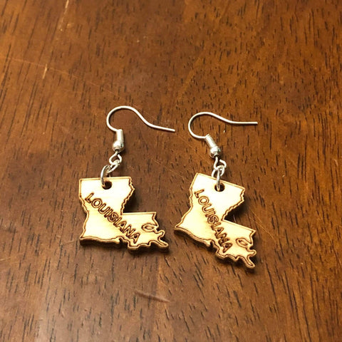 Louisiana State Wooden Dangle Earrings.
