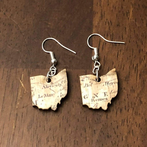 Ohio Map Pattern Wooden Dangle Earrings loved in the Buckeye state