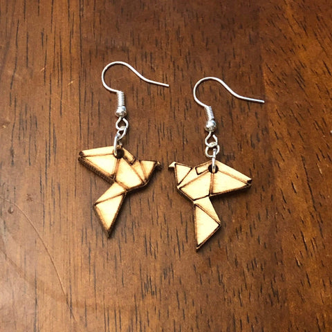 Origami Dove Dangle Earrings