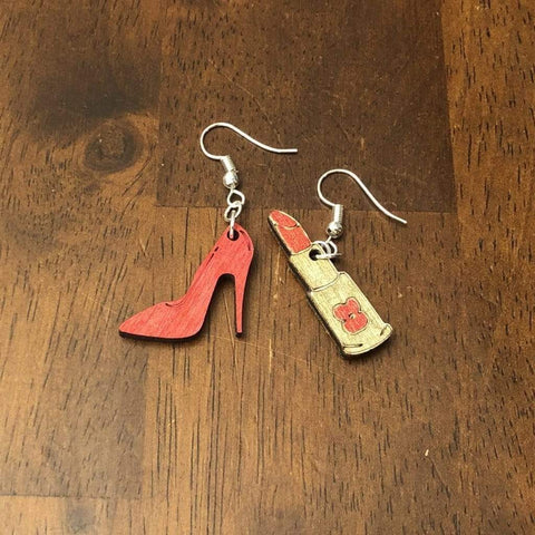 Red High Heel and Lipstick Dangle Earrings - cates-concepts.