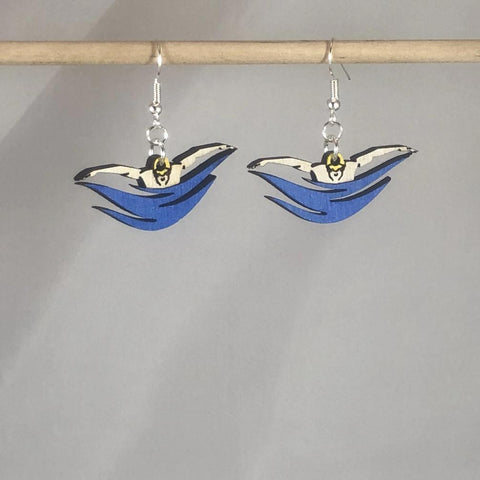 Swimmers Butterfly Stroke Wooden Dangle Earrings