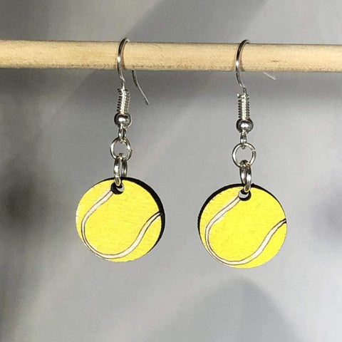 Tennis Ball Wooden Dangle Earrings - cates-concepts.