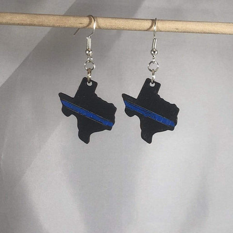 Texas State Thin Blue Line Wooden Dangle Earrings - cates-concepts.