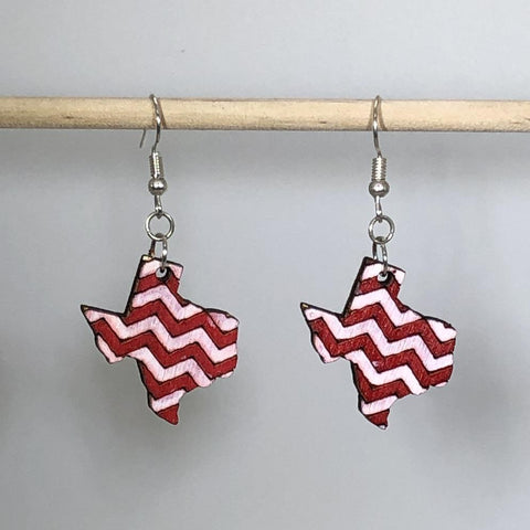 University of Houston Red and White Chevrons Wooden Dangle Earrings