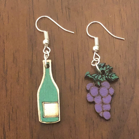 Wine Bottle and Grapes Wooden Mismatched Dangle Earrings
