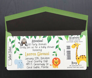 safari theme baby shower invitation