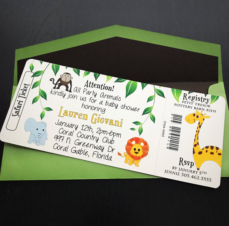 jungle theme baby shower invitation for safari theme party