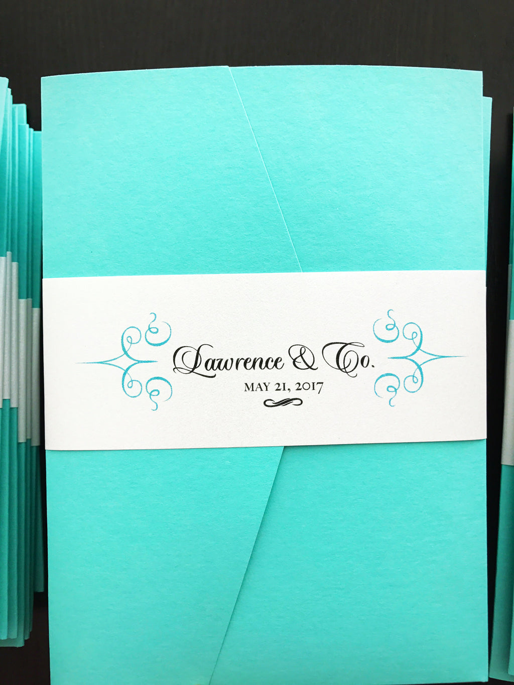 Tiffany Blue Wedding Invitation - Pocket Fold Invite