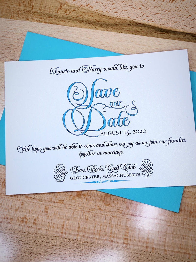 Tiffany blue save the date wedding invitation