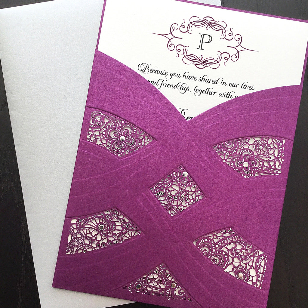 Monogram wedding invite in Laser cut pocket by poetic twist
