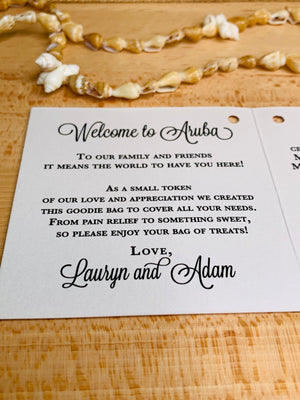 mini welcome note for wedding