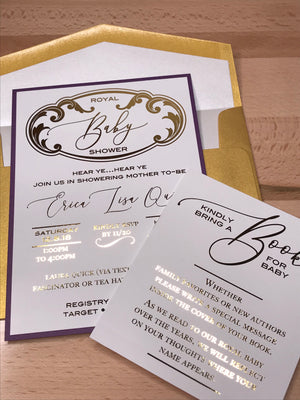 royal baby shower invite and purple and gold baby shower invite